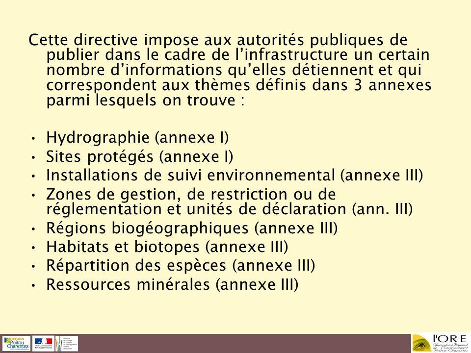 Cette directive impose aux autorités publiques de publier dans le cadre de linfrastructure un certain nombre dinformations quelles détiennent et qui c