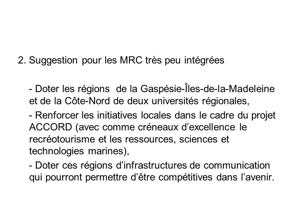 2. Suggestion pour les MRC très peu intégrées - Doter les régions de la Gaspésie-Îles-de-la-Madeleine et de la Côte-Nord de deux universités régionale