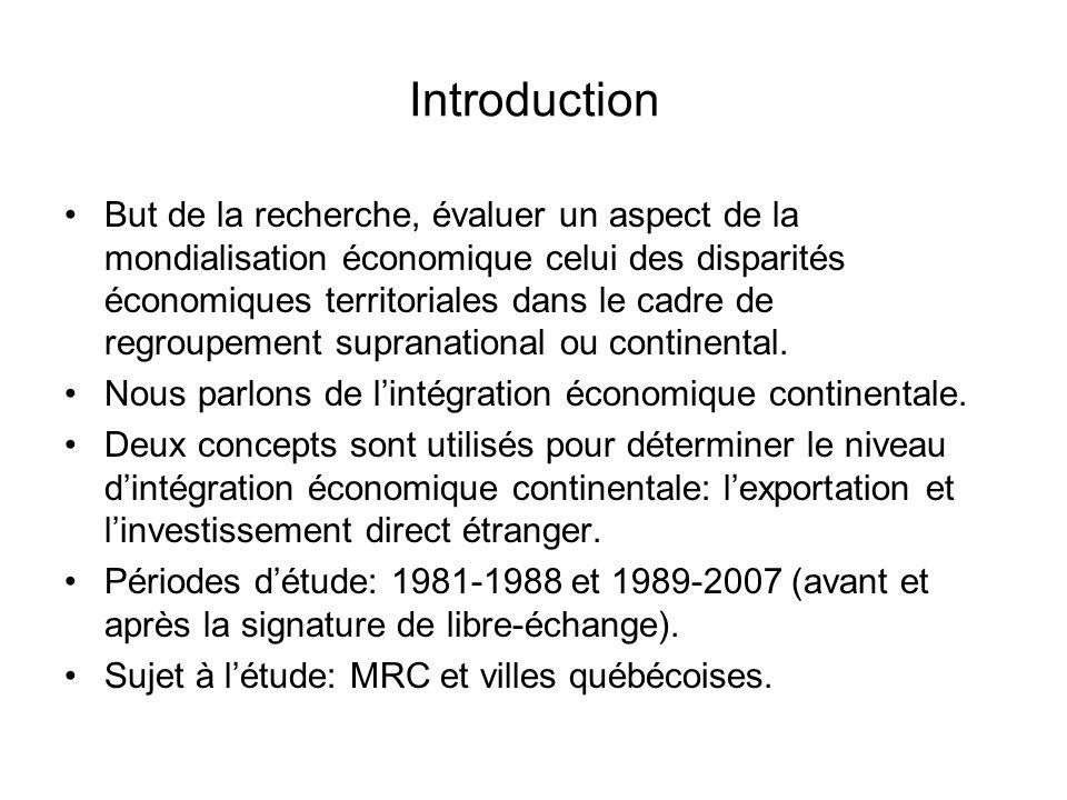 Introduction But de la recherche, évaluer un aspect de la mondialisation économique celui des disparités économiques territoriales dans le cadre de regroupement supranational ou continental.