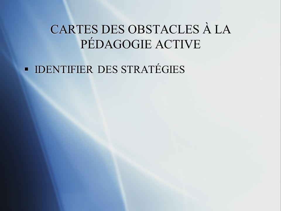 CARTES DES OBSTACLES À LA PÉDAGOGIE ACTIVE IDENTIFIER DES STRATÉGIES