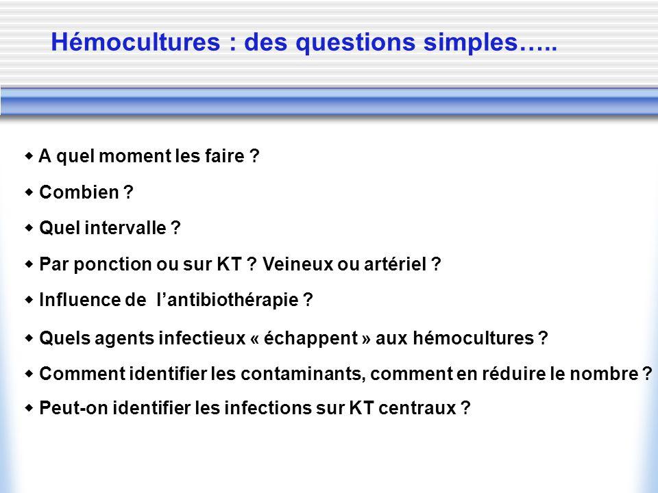 Hémocultures : des questions simples….. A quel moment les faire ? Combien ? Quel intervalle ? Par ponction ou sur KT ? Veineux ou artériel ? Influence