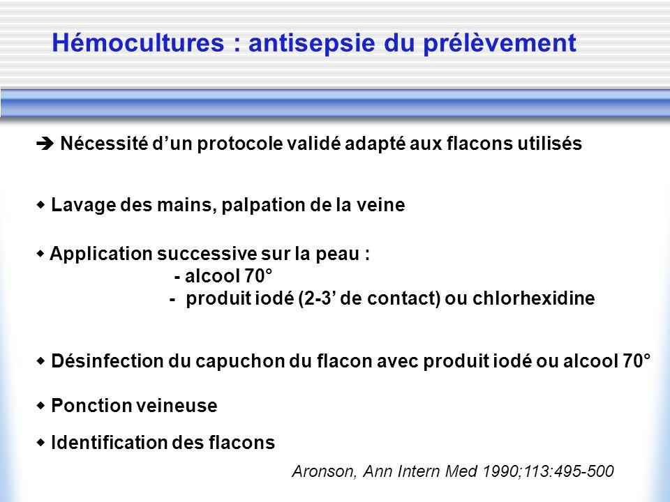 Hémocultures : antisepsie du prélèvement Nécessité dun protocole validé adapté aux flacons utilisés Application successive sur la peau : - alcool 70°