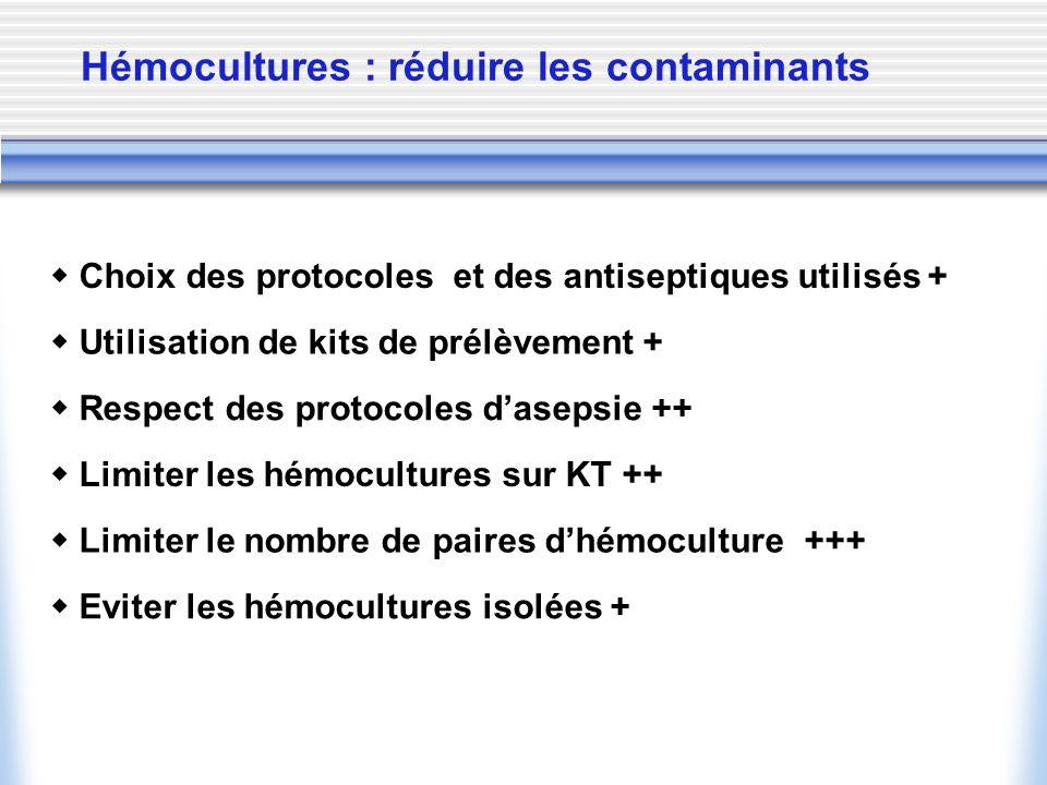 Hémocultures : réduire les contaminants Respect des protocoles dasepsie ++ Limiter les hémocultures sur KT ++ Limiter le nombre de paires dhémoculture