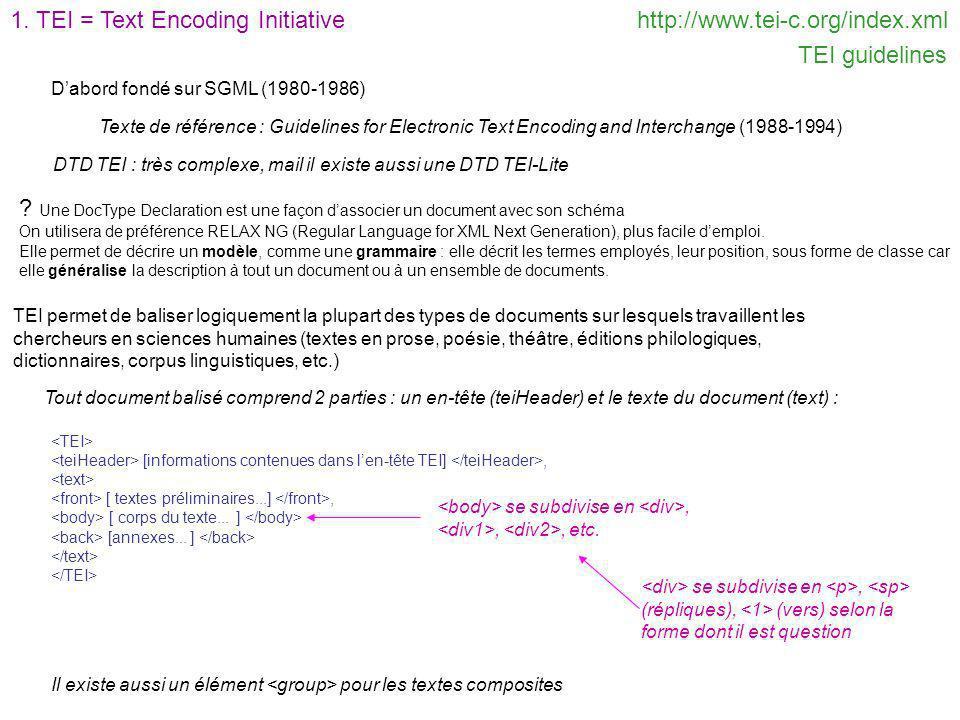 1. TEI = Text Encoding Initiativehttp://www.tei-c.org/index.xml TEI guidelines Dabord fondé sur SGML (1980-1986) Texte de référence : Guidelines for E