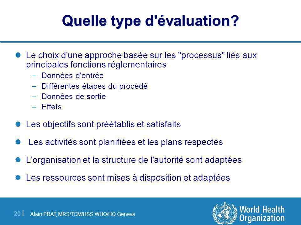 Alain PRAT, MRS/TCM/HSS WHO/HQ Geneva 20 | Quelle type d évaluation.