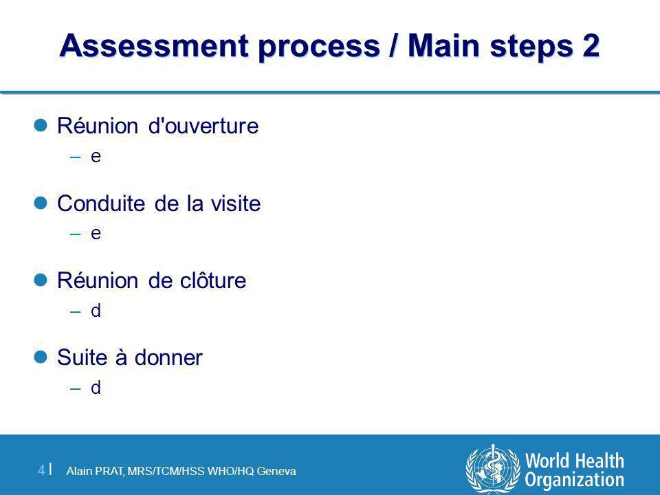 Alain PRAT, MRS/TCM/HSS WHO/HQ Geneva 4 |4 | Assessment process / Main steps 2 Réunion d ouverture –e Conduite de la visite –e Réunion de clôture –d Suite à donner –d