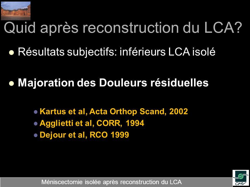 Quid après reconstruction du LCA? Résultats subjectifs: inférieurs LCA isolé Majoration des Douleurs résiduelles Kartus et al, Acta Orthop Scand, 2002