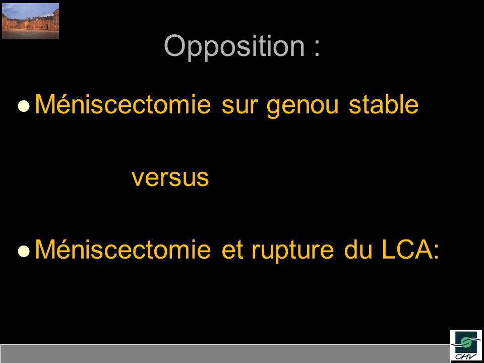 Méniscectomie latérale vs médiale Résultats IKDC subjectifs à 11 ans: Genou normal: 90% MM vs 86% ML SFA 2003 (Arthroscopy) MS tendance à des résultats inférieurs au ML: Bonneux et al (2002) : Lateral, athlètes: 48% B et TB, McNicholas (2000) : 20ans, total, adolesc: MM> ML Méniscectomie sur genou stable