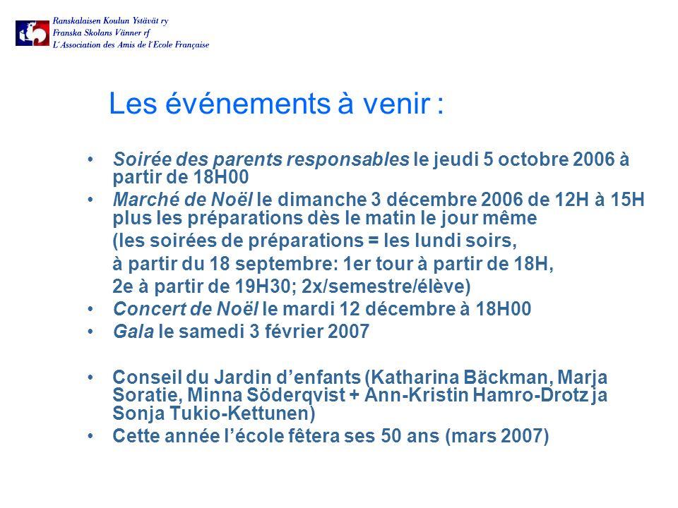Les événements à venir : Soirée des parents responsables le jeudi 5 octobre 2006 à partir de 18H00 Marché de Noël le dimanche 3 décembre 2006 de 12H à 15H plus les préparations dès le matin le jour même (les soirées de préparations = les lundi soirs, à partir du 18 septembre: 1er tour à partir de 18H, 2e à partir de 19H30; 2x/semestre/élève) Concert de Noël le mardi 12 décembre à 18H00 Gala le samedi 3 février 2007 Conseil du Jardin denfants (Katharina Bäckman, Marja Soratie, Minna Söderqvist + Ann-Kristin Hamro-Drotz ja Sonja Tukio-Kettunen) Cette année lécole fêtera ses 50 ans (mars 2007)