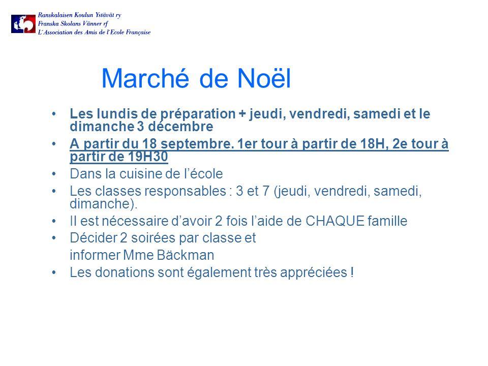 Marché de Noël Les lundis de préparation + jeudi, vendredi, samedi et le dimanche 3 décembre A partir du 18 septembre.