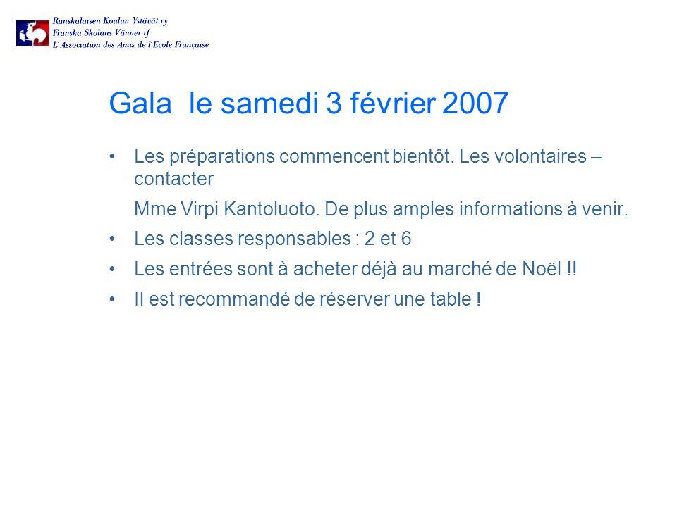 Gala le samedi 3 février 2007 Les préparations commencent bientôt.