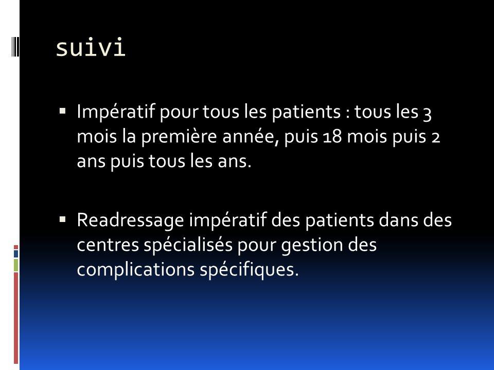 suivi Impératif pour tous les patients : tous les 3 mois la première année, puis 18 mois puis 2 ans puis tous les ans. Readressage impératif des patie