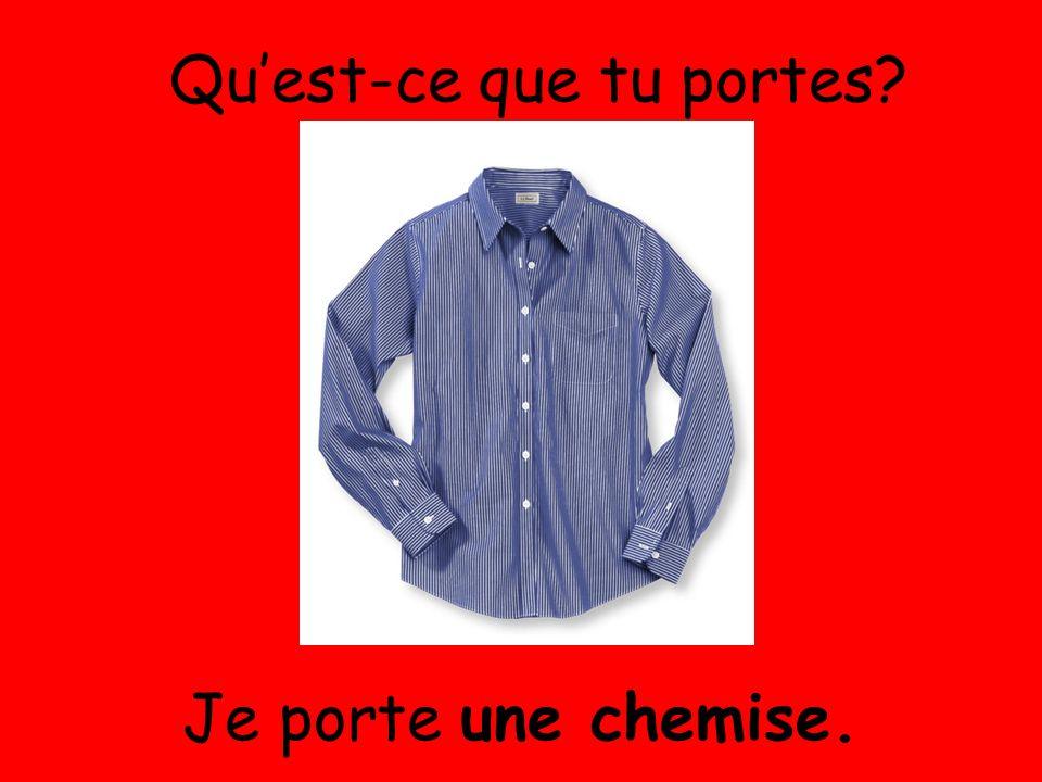 Je porte une chemise. Quest-ce que tu portes?