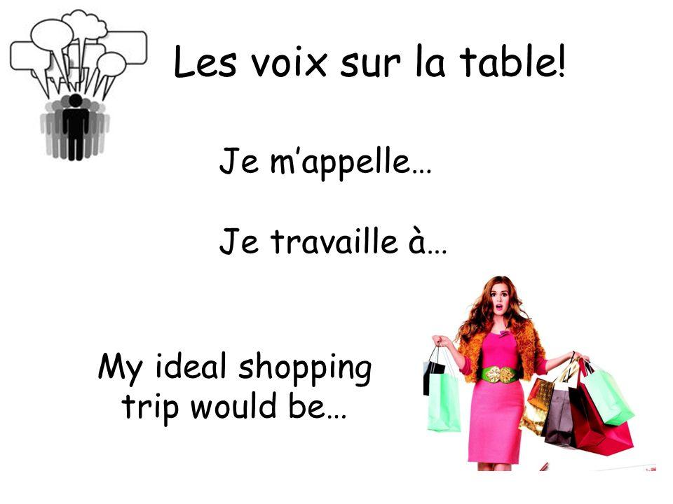 Les voix sur la table! Je mappelle… Je travaille à… My ideal shopping trip would be…