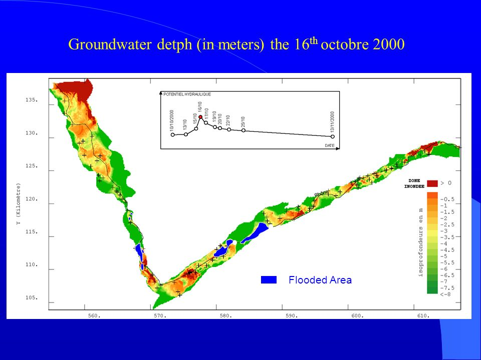 Groundwater detph (in meters) the 16 th octobre 2000 Zone réellement inondée Rupture de la digue Flooded Area