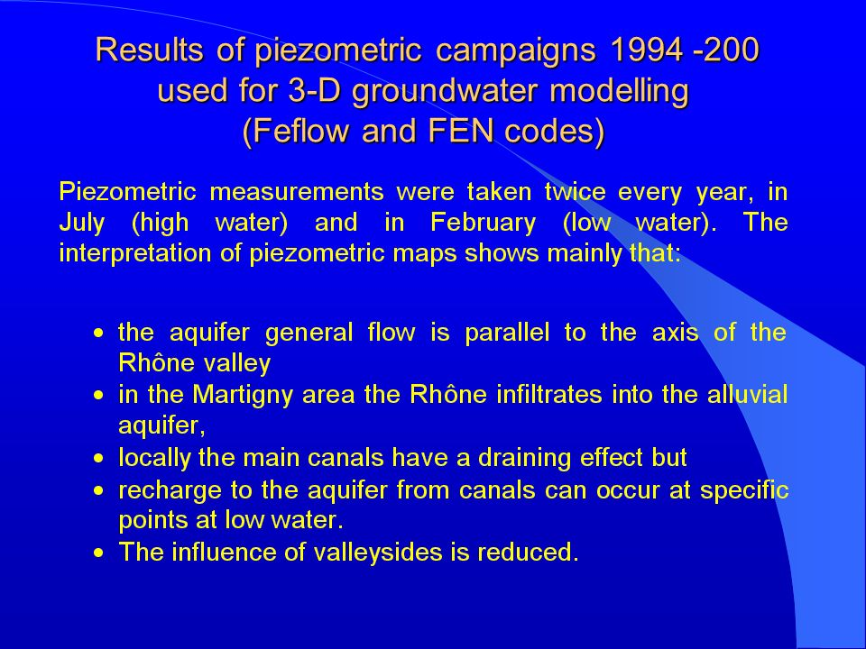 Results of piezometric campaigns 1994 -200 used for 3-D groundwater modelling (Feflow and FEN codes) Results of piezometric campaigns 1994 -200 used for 3-D groundwater modelling (Feflow and FEN codes)