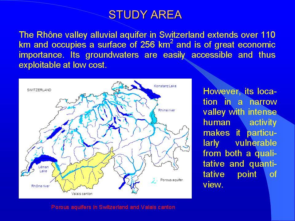 STUDY AREA Léman Lake Rhône river Rhine river Konstanz Lake SWITZERLAND Valais canton Porous aquifer