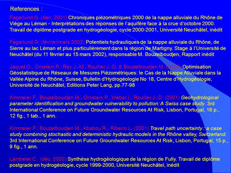 Fagerlund G. (dec. 2001) Chroniques piézométriques 2000 de la nappe alluviale du Rhône de Viège au Léman - Interprétations des réponses de laquifère f