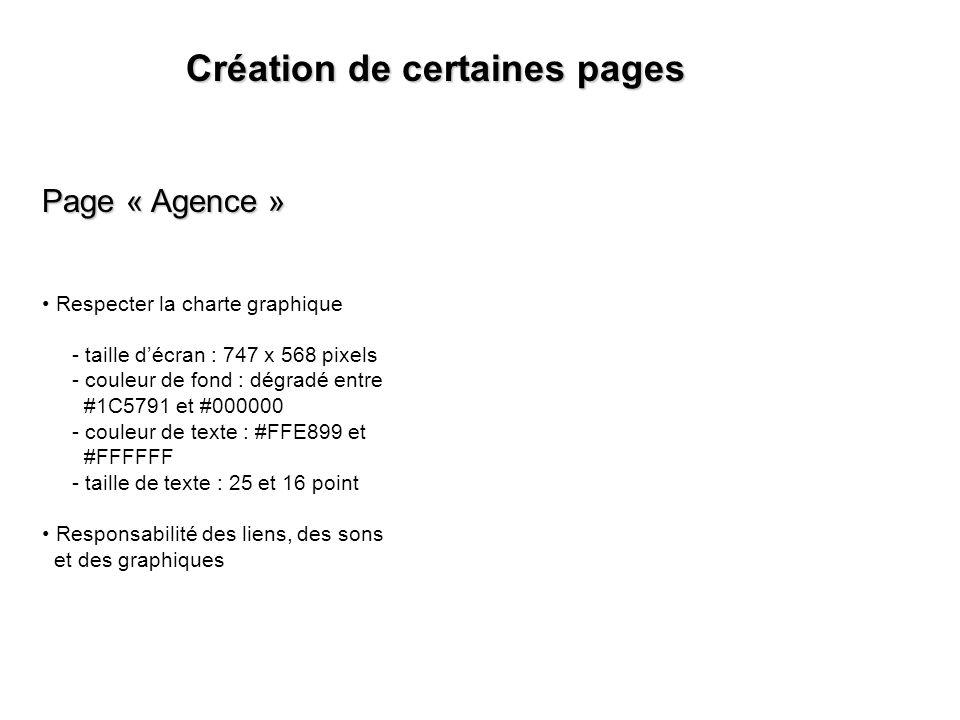 Création de certaines pages Page « Agence » Respecter la charte graphique - taille décran : 747 x 568 pixels - couleur de fond : dégradé entre #1C5791 et #000000 - couleur de texte : #FFE899 et #FFFFFF - taille de texte : 25 et 16 point Responsabilité des liens, des sons et des graphiques