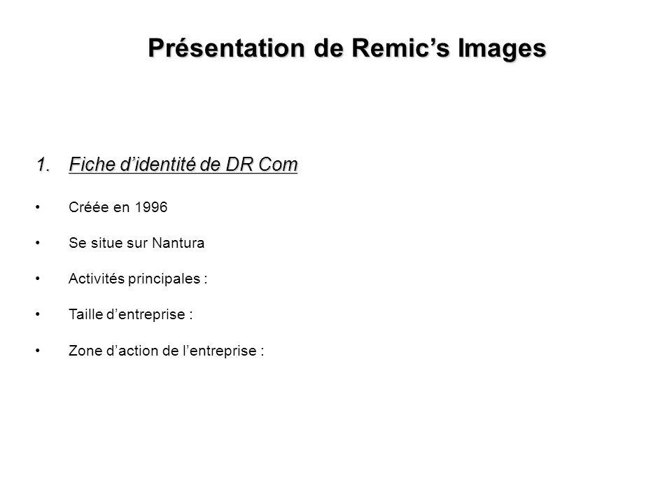 Présentation de Remics Images 1.Fiche didentité de DR Com Créée en 1996 Se situe sur Nantura Activités principales : Taille dentreprise : Zone daction de lentreprise :