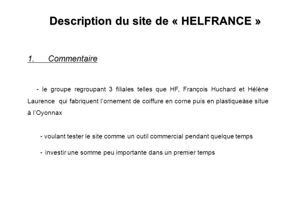 Description du site de « HELFRANCE » 2.Objectif du site - Commande en ligne - Gestion du stock 4.