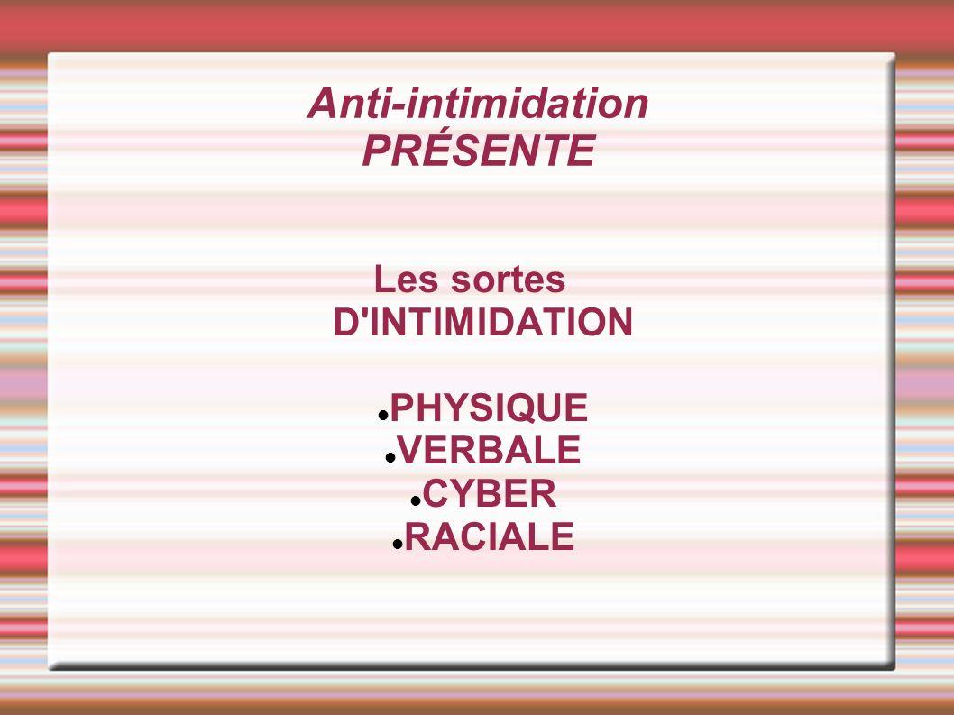 Anti-intimidation PRÉSENTE Les sortes D INTIMIDATION PHYSIQUE VERBALE CYBER RACIALE