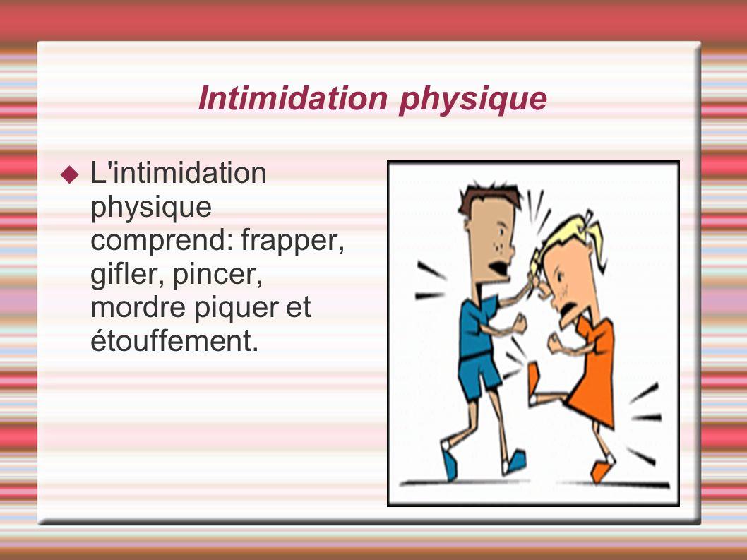 L'intimidation physique comprend: frapper, gifler, pincer, mordre piquer et étouffement. Intimidation physique