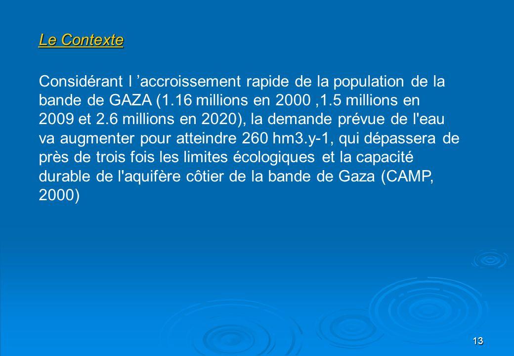 13 Le Contexte Considérant l accroissement rapide de la population de la bande de GAZA (1.16 millions en 2000,1.5 millions en 2009 et 2.6 millions en