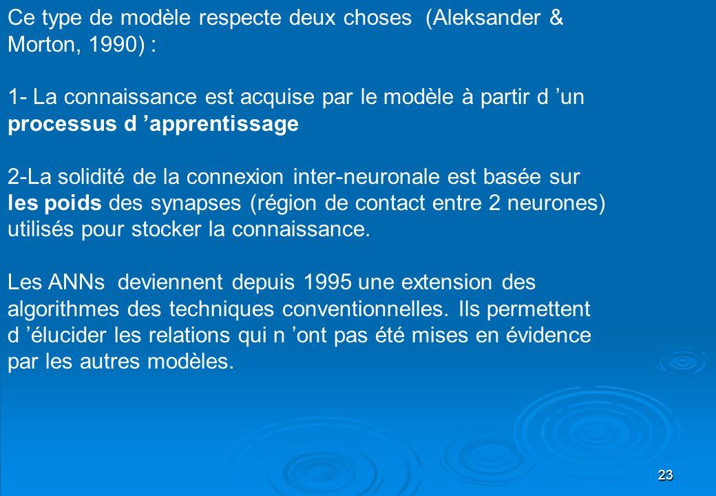 23 Ce type de modèle respecte deux choses (Aleksander & Morton, 1990) : 1- La connaissance est acquise par le modèle à partir d un processus d apprent