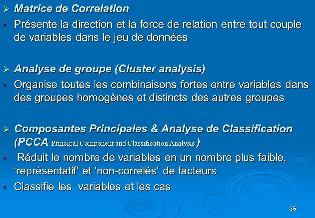 35 Matrice de Correlation Matrice de Correlation Présente la direction et la force de relation entre tout couple de variables dans le jeu de données P