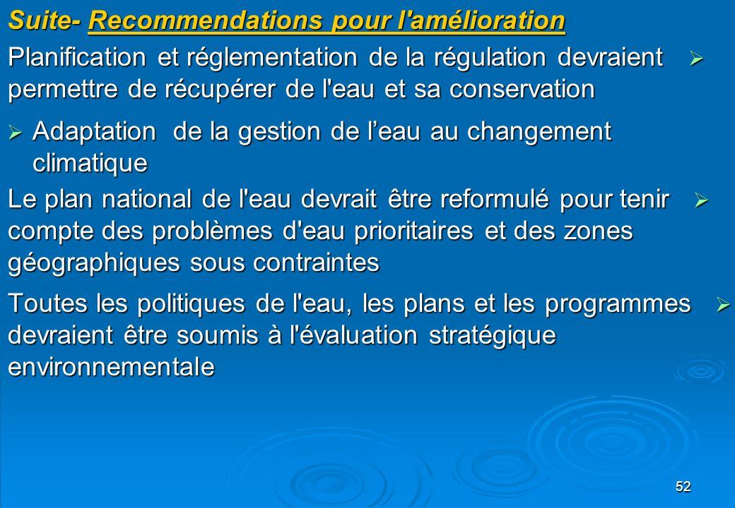 52 Suite- Recommendations pour l'amélioration Planification et réglementation de la régulation devraient permettre de récupérer de l'eau et sa conserv