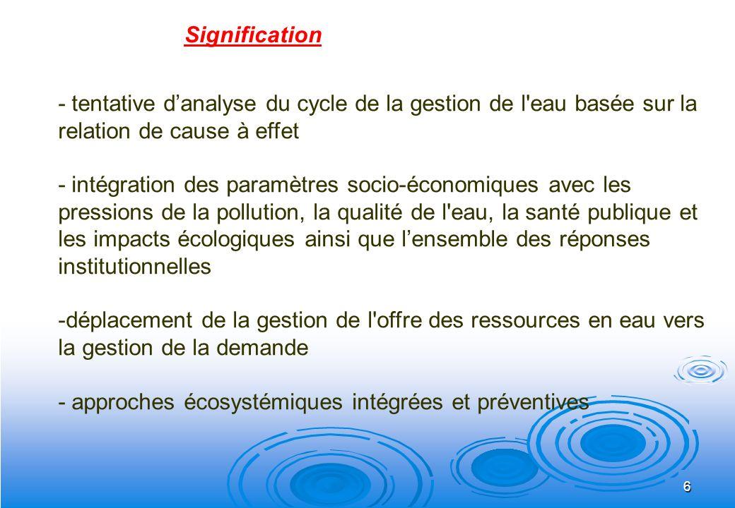 6 - tentative danalyse du cycle de la gestion de l'eau basée sur la relation de cause à effet - intégration des paramètres socio-économiques avec les