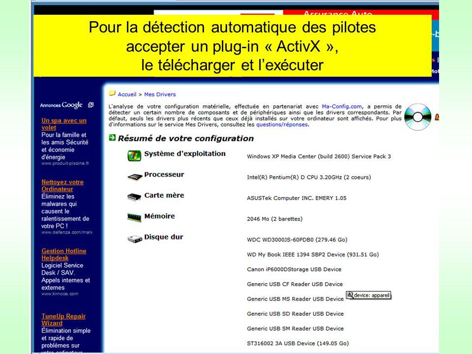 Pour la détection automatique des pilotes accepter un plug-in « ActivX », le télécharger et lexécuter