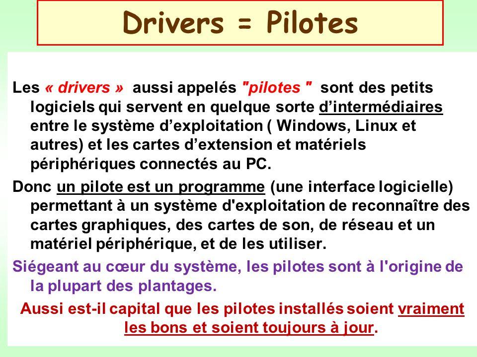 Drivers = Pilotes Les « drivers » aussi appelés