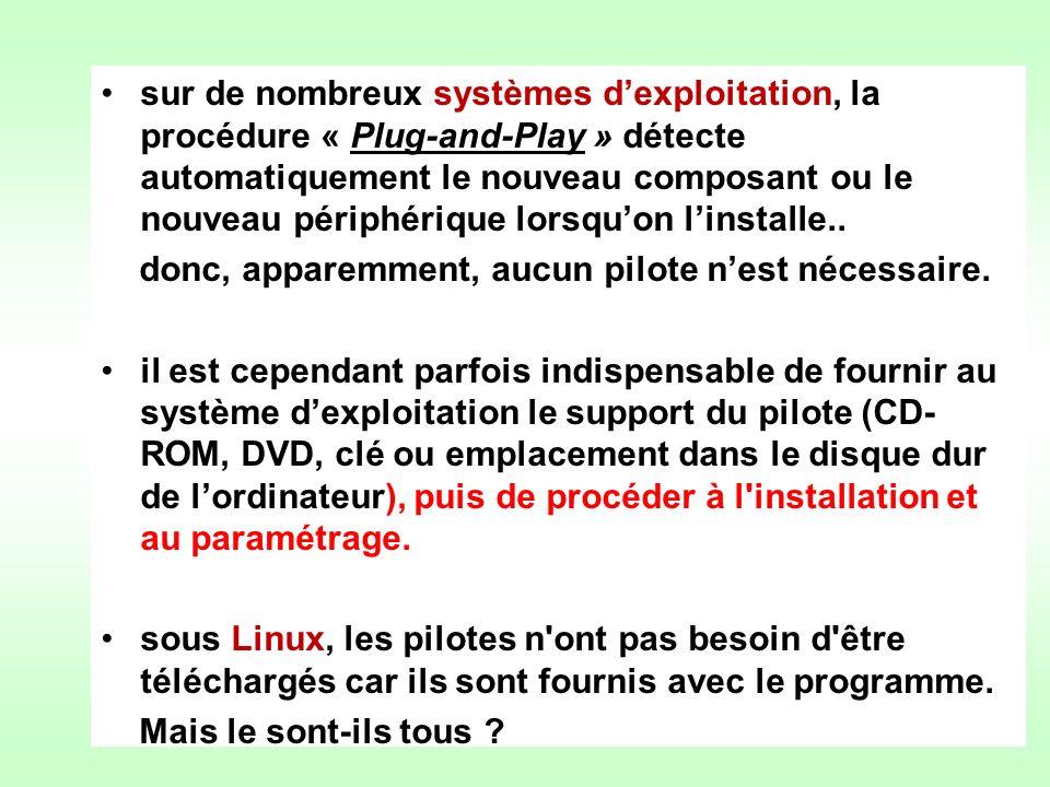 sur de nombreux systèmes dexploitation, la procédure « Plug-and-Play » détecte automatiquement le nouveau composant ou le nouveau périphérique lorsquo