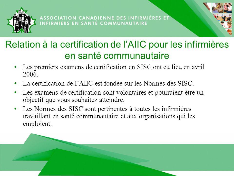 Relation à la certification de lAIIC pour les infirmières en santé communautaire Les premiers examens de certification en SISC ont eu lieu en avril 2006.