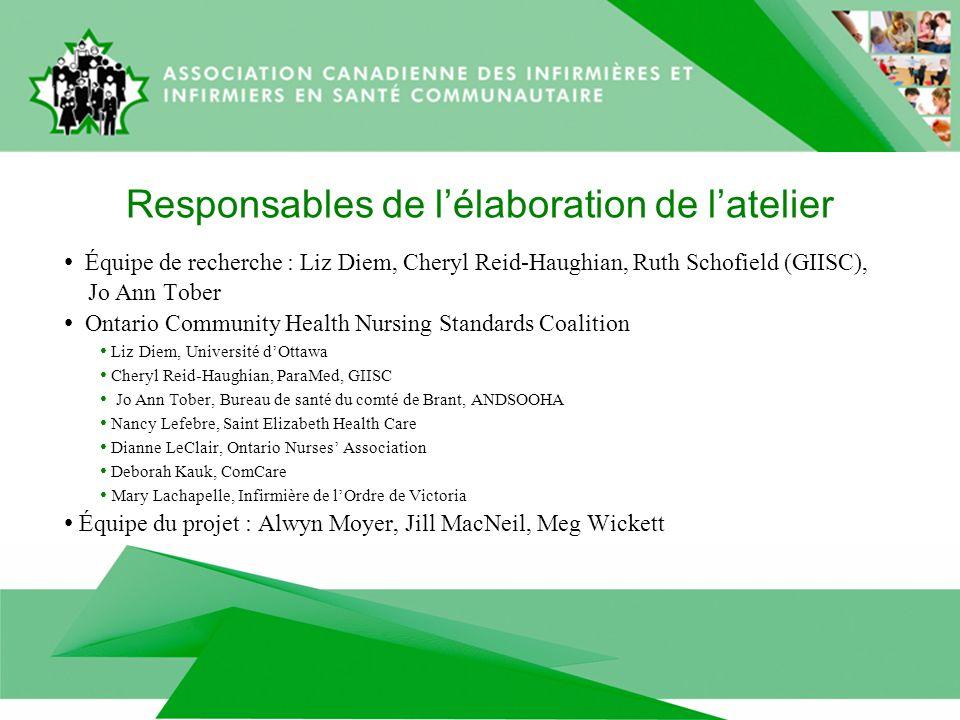 Responsables de lélaboration de latelier Équipe de recherche : Liz Diem, Cheryl Reid-Haughian, Ruth Schofield (GIISC), Jo Ann Tober Ontario Community