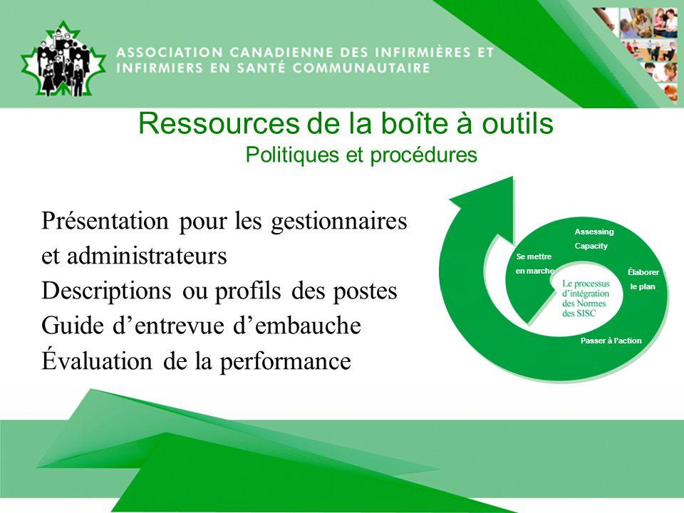 Ressources de la boîte à outils Politiques et procédures Présentation pour les gestionnaires et administrateurs Descriptions ou profils des postes Gui