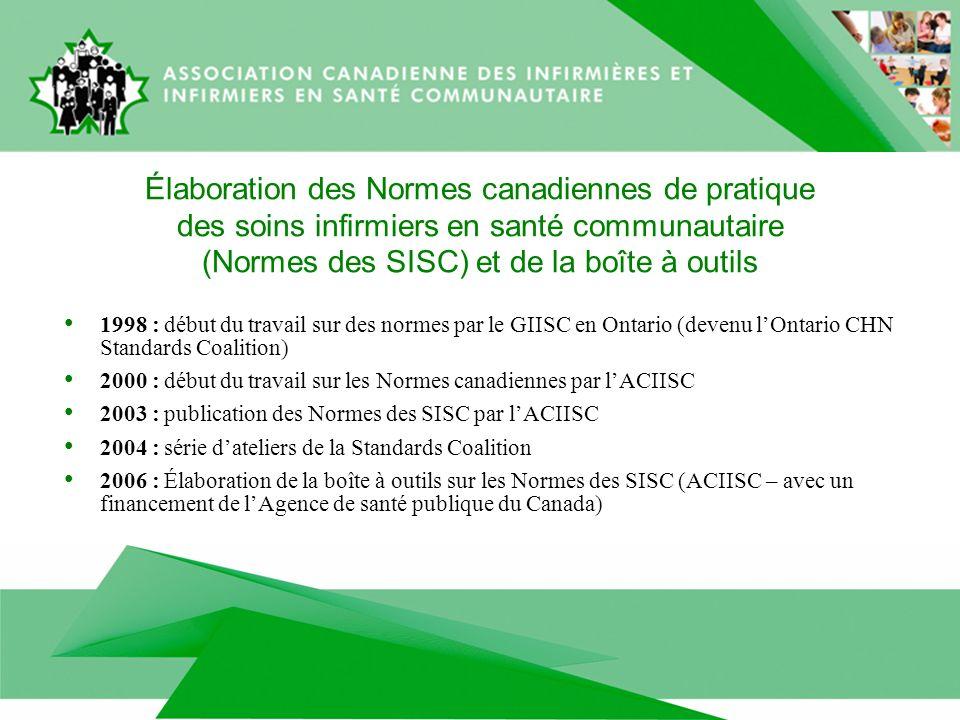Élaboration des Normes canadiennes de pratique des soins infirmiers en santé communautaire (Normes des SISC) et de la boîte à outils 1998 : début du travail sur des normes par le GIISC en Ontario (devenu lOntario CHN Standards Coalition) 2000 : début du travail sur les Normes canadiennes par lACIISC 2003 : publication des Normes des SISC par lACIISC 2004 : série dateliers de la Standards Coalition 2006 : Élaboration de la boîte à outils sur les Normes des SISC (ACIISC – avec un financement de lAgence de santé publique du Canada)