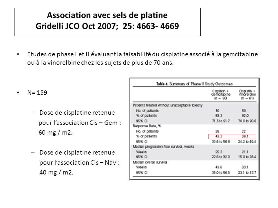 Association avec sels de platine Gridelli JCO Oct 2007; 25: 4663- 4669 Etudes de phase I et II évaluant la faisabilité du cisplatine associé à la gemcitabine ou à la vinorelbine chez les sujets de plus de 70 ans.