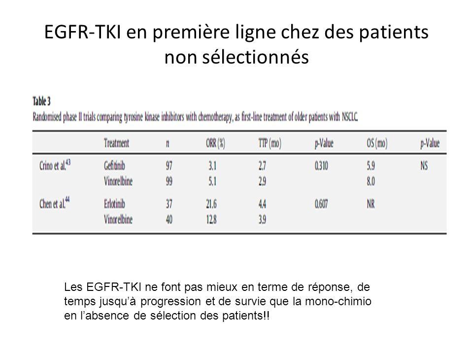 EGFR-TKI en première ligne chez des patients non sélectionnés Les EGFR-TKI ne font pas mieux en terme de réponse, de temps jusquà progression et de survie que la mono-chimio en labsence de sélection des patients!!