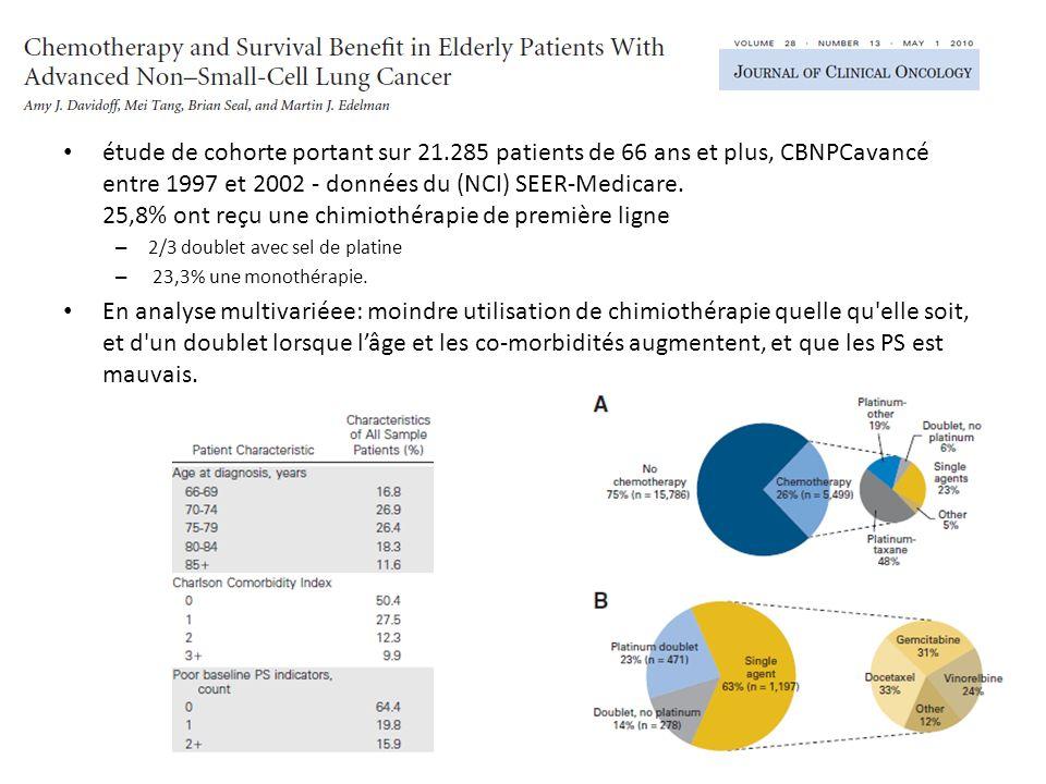 étude de cohorte portant sur 21.285 patients de 66 ans et plus, CBNPCavancé entre 1997 et 2002 - données du (NCI) SEER-Medicare.
