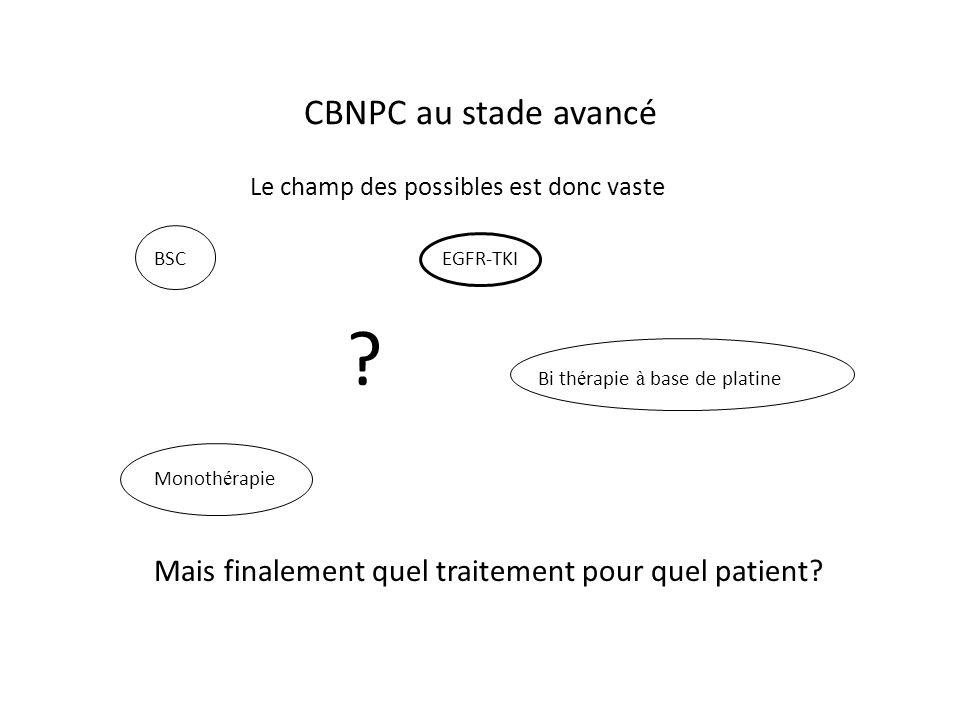 CBNPC au stade avancé Le champ des possibles est donc vaste BSCEGFR-TKI .