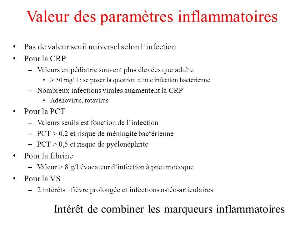 Valeur des paramètres inflammatoires Pas de valeur seuil universel selon linfection Pour la CRP – Valeurs en pédiatrie souvent plus élevées que adulte