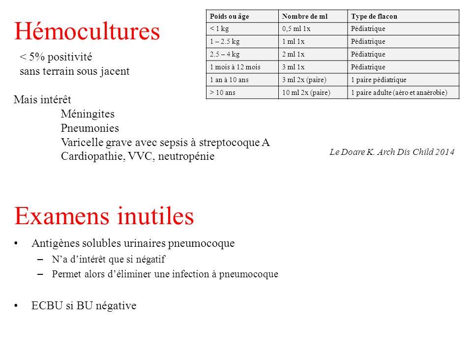 Hémocultures Poids ou âgeNombre de mlType de flacon < 1 kg0,5 ml 1xPédiatrique 1 – 2.5 kg1 ml 1xPédiatrique 2.5 – 4 kg2 ml 1xPédiatrique 1 mois à 12 m