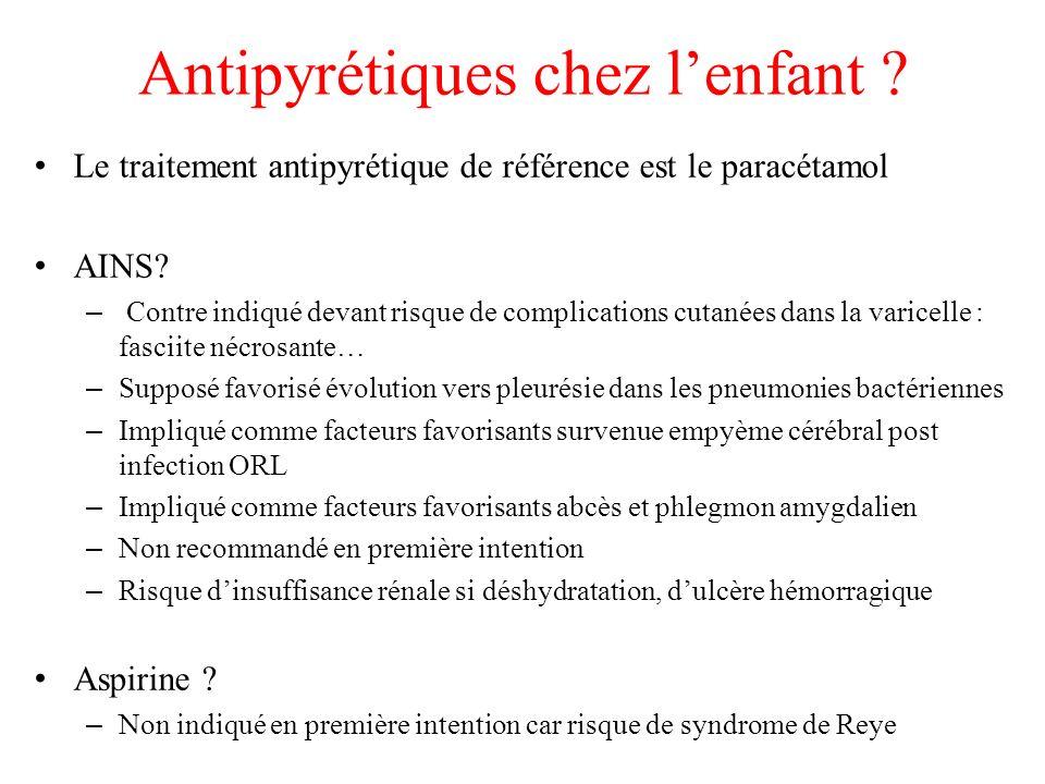 Antipyrétiques chez lenfant ? Le traitement antipyrétique de référence est le paracétamol AINS? – Contre indiqué devant risque de complications cutané