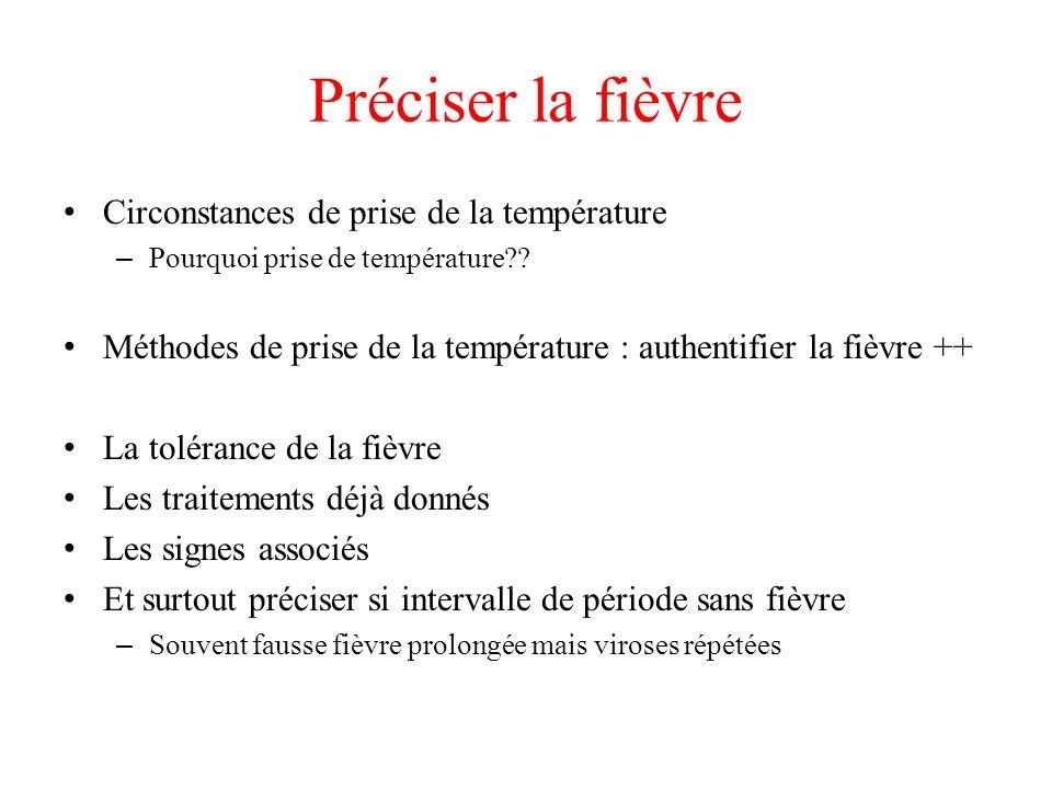 Préciser la fièvre Circonstances de prise de la température – Pourquoi prise de température?? Méthodes de prise de la température : authentifier la fi