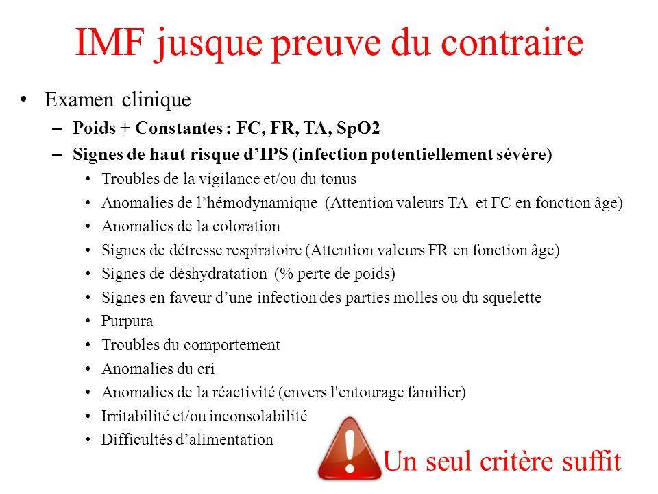 IMF jusque preuve du contraire Examen clinique – Poids + Constantes : FC, FR, TA, SpO2 – Signes de haut risque dIPS (infection potentiellement sévère)