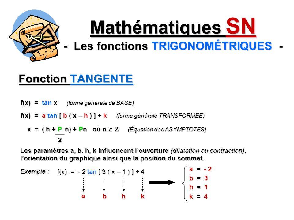 Fonction TANGENTE f(x) = tan x (forme générale de BASE) f(x) = a tan [ b ( x – h ) ] + k (forme générale TRANSFORMÉE) Les paramètres a, b, h, k influencent louverture (dilatation ou contraction), lorientation du graphique ainsi que la position du sommet.