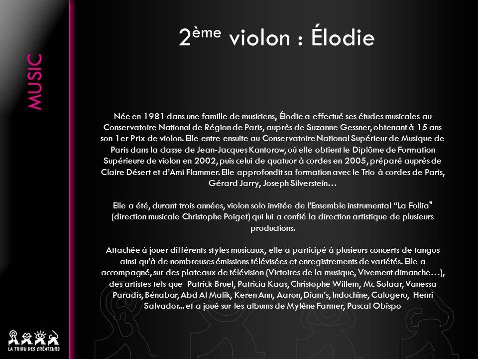 Née en 1981 dans une famille de musiciens, Élodie a effectué ses études musicales au Conservatoire National de Région de Paris, auprès de Suzanne Gessner, obtenant à 15 ans son 1er Prix de violon.